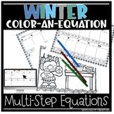 Christmas Color-an-Equation, multi-step equations