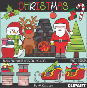 Christmas Color and Line Art ClipArt