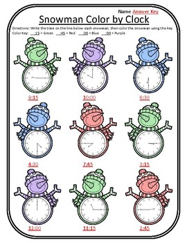 Snowman Math Winter Color by Clock Winter Time Math Center Winter Clock