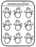 Snowman Math Winter Color by Clock Winter Time Math Center