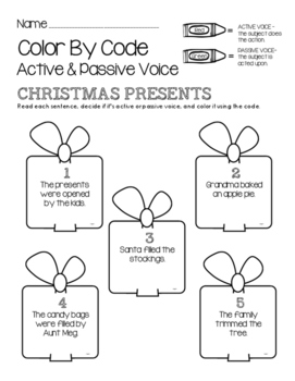 Christmas Color by Code - Active and Passive Voice