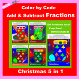 Christmas Color by Code: Add & Subtract Fractions 5 in 1