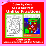Christmas Color by Code: Add & Subtract Unlike Fractions