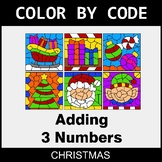 Christmas Color by Code - Adding 3 Numbers