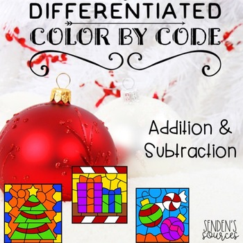 Christmas Color by Code Adding and Subtracting Differentiated!