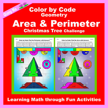 Christmas Color by Code: Area and Perimeter Tree 4 in 1: Practice Formulas!