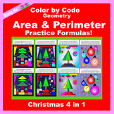 Christmas Color by Code: Area and Perimeter Tree 4 in 1: P