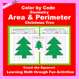Christmas Color by Code: Area and Perimeter: Count Squares: Christmas Tree