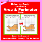 Christmas Color by Code: Area and Perimeter: Count Squares: Sleigh