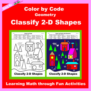 Christmas Color by Code: Classify Geometry 2D and 3D Shapes 3 in 1
