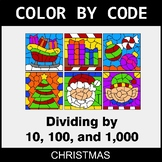 Christmas Color by Code - Dividing by 10, 100, and 1,000