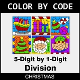 Christmas Color by Code - Division: 5-Digit by 1-Digit