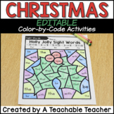 Christmas Coloring by Number Coloring Pages - Editable!