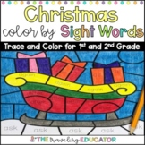 Christmas Color by Code First and Second Grade Sight Word Worksheets