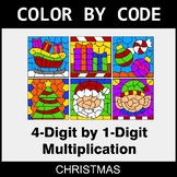 Christmas Color by Code - Multiplication: 4-Digit by 1-Digit