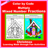 Christmas Color by Code: Multiply Mixed Number Fractions