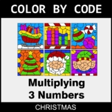 Christmas Color by Code - Multiplying 3 Numbers