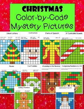 Christmas Color By Code Mystery Pictures Coloring Pages Math And