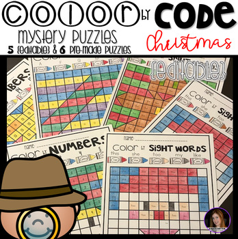 Christmas Color by Code Mystery Puzzles {Editable}