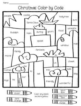 Christmas Grammar Coloring Pages Parts of Speech