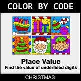 Christmas Color by Code - Place Value of Underlined Digit