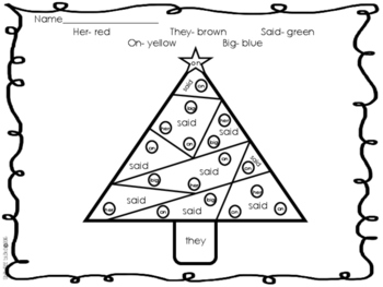 Christmas Color by Code-Sight Words