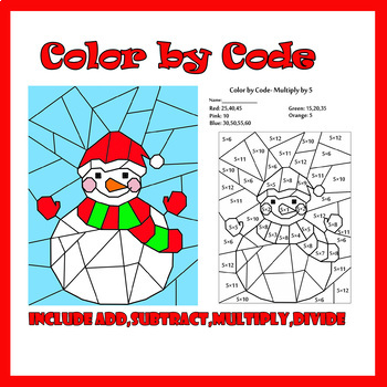 Christmas Color by Code: Snowman Basic Math Facts