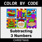 Christmas Color by Code - Subtracting 3 Numbers