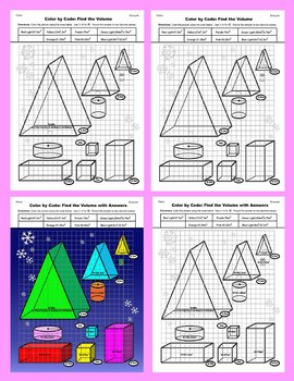 Christmas Color by Code: Surface Area and Volume: Christmas Tree Basic