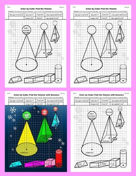 Christmas Color by Code: Surface Area and Volume: Christmas Tree Standard