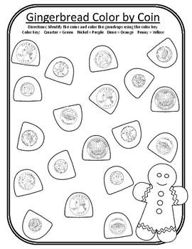 Christmas Color by Coin Christmas Gingerbread Math Center Christmas Money Math