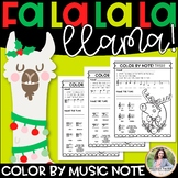 Christmas Color by Music Note {Llama Music Worksheets}