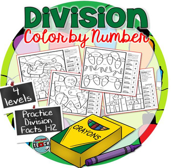 Christmas Color by Number ~ 4 Division Color by Number Worksheets