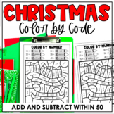 Christmas Color-by-Number Activities | Addition & Subtract