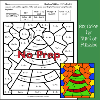 Christmas Color by Number Addition