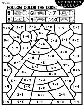 Christmas Color by Number Addition Facts | Christmas Coloring Pages
