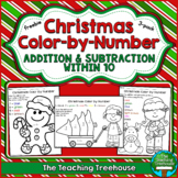 FREE Christmas Color by Number, Addition & Subtraction Within 10