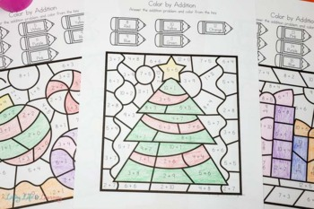 Christmas Color by Number Addition Worksheets