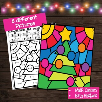 Christmas Color by Number Addition and Subtraction