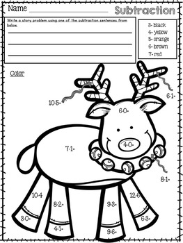Christmas Color by Number Addition and Subtraction Facts | TpT