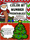 Christmas Color by Number Addition and Subtraction Facts