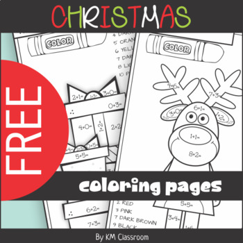 FREE Christmas Color by Number Addition within 10