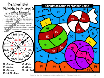 Christmas Color by Number: Christmas Math Games