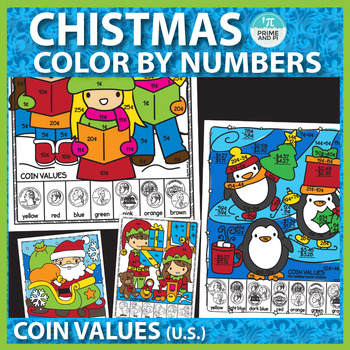 Christmas Color by Number: Coin Values and subtracting money