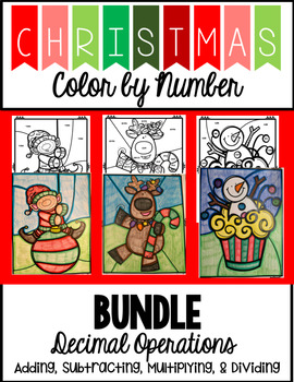 Christmas Color by Number -  Decimal Operations BUNDLE