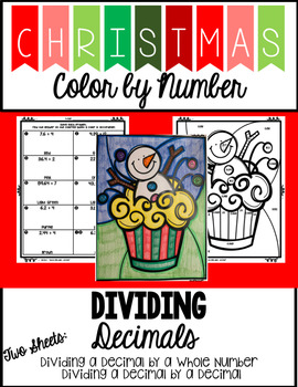 Christmas Color by Number - Dividing Decimals