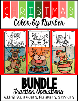 Christmas Color by Number - Fraction Operations BUNDLE