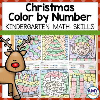 Christmas Color By Number Kindergarten Math Worksheets By Amy Murray