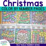 Christmas Color by Number Kindergarten Math Worksheets