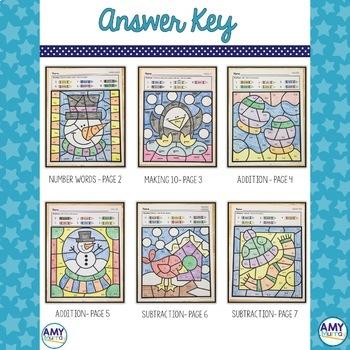 Winter Color by Number Kindergarten Math Worksheets